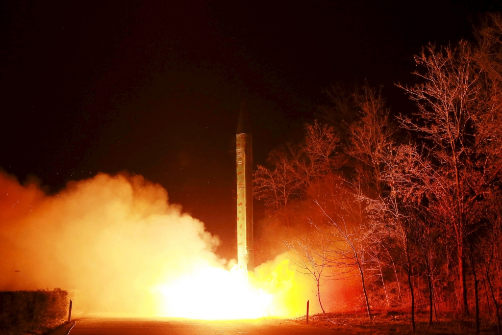 A ballistic rocket launch drill of the Strategic Force of the Korean People's Army (KPA) is seen at an unknown location, in this undated photo released by North Korea's Korean Central News Agency (KCNA) in Pyongyang on March 11, 2016. REUTERS / KCN