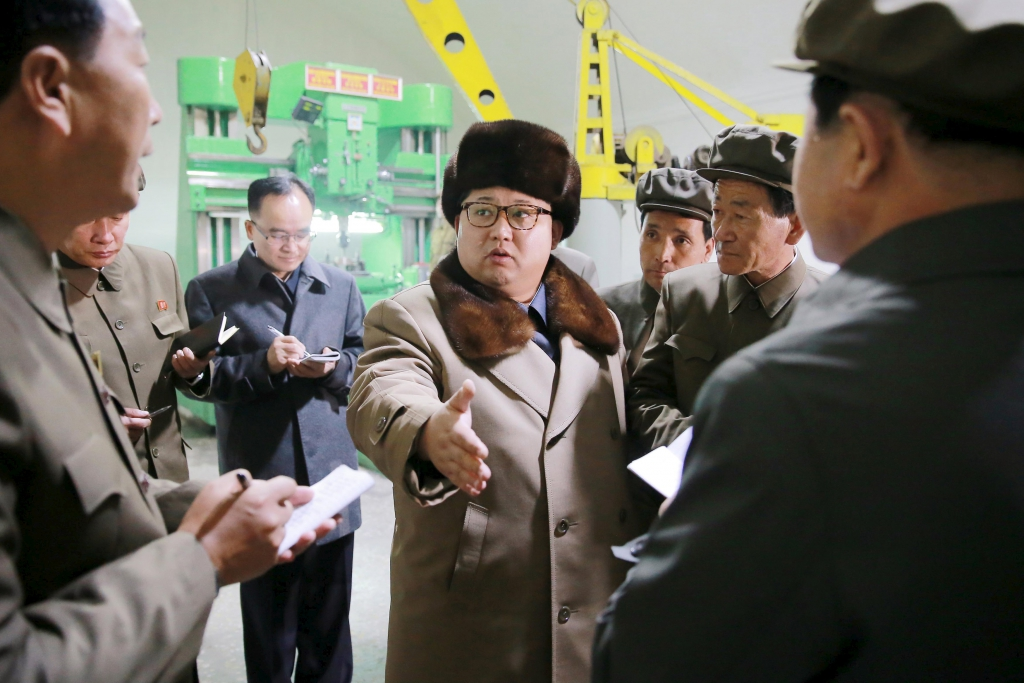 North Korean leader Kim Jong Un speaks during a visit to the Sinhung Machine Plant in this undated photo released by North Korea's
