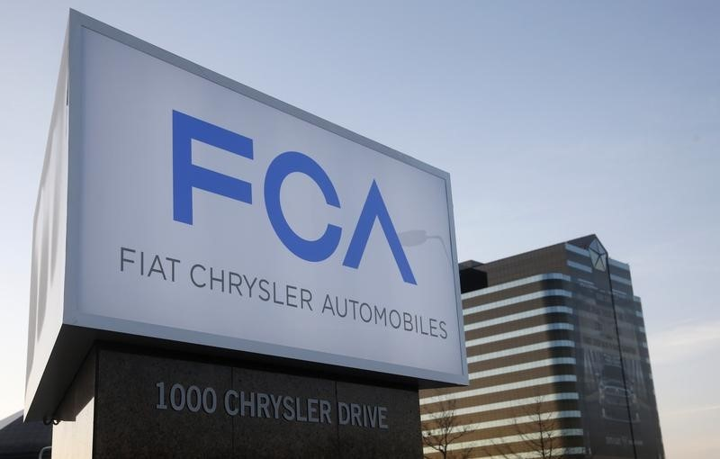 A new Fiat Chrysler Automobiles sign is pictured after being unveiled at Chrysler Group World