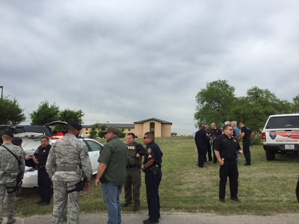 Bexar County Sheriff photo of deputies inside Lackland Air Force Base