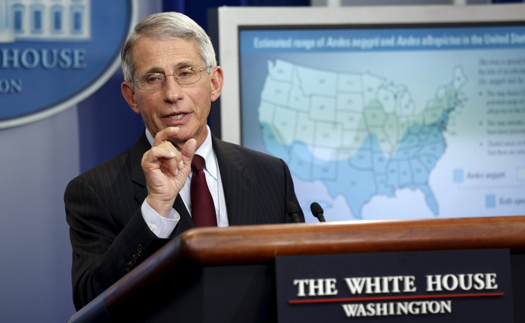 Dr. Anthony Fauci, director of the National Institute for Allergy and Infectious Disease, speaks about the Zika virus from the White House in Washington