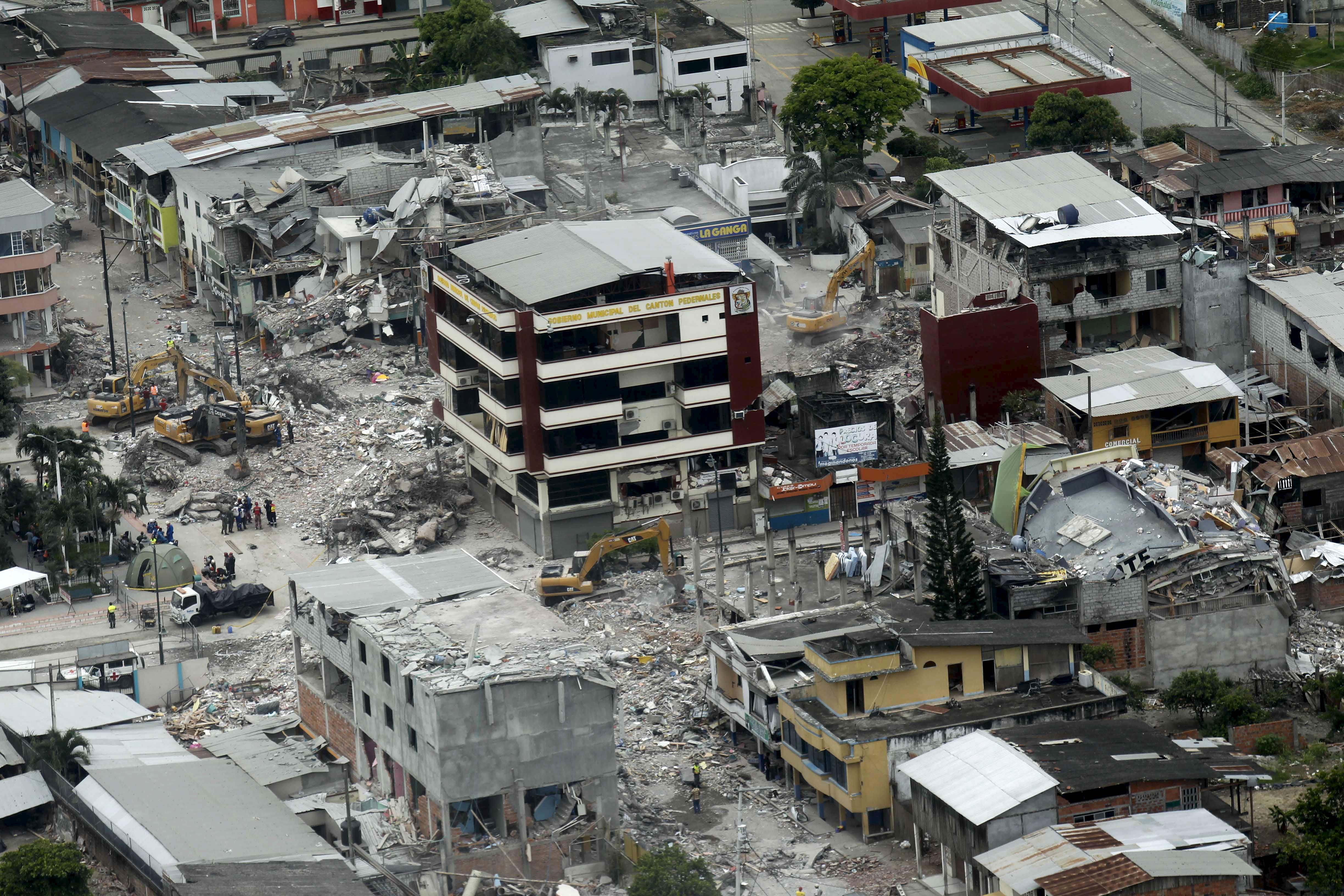 Aerial view of Pedernales, after an earthquake struck off Ecuador's Pacific coast