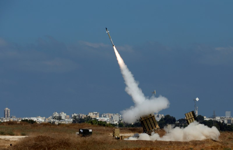 An Iron Dome launcher fires an interceptor rocket in the southern Israeli city of