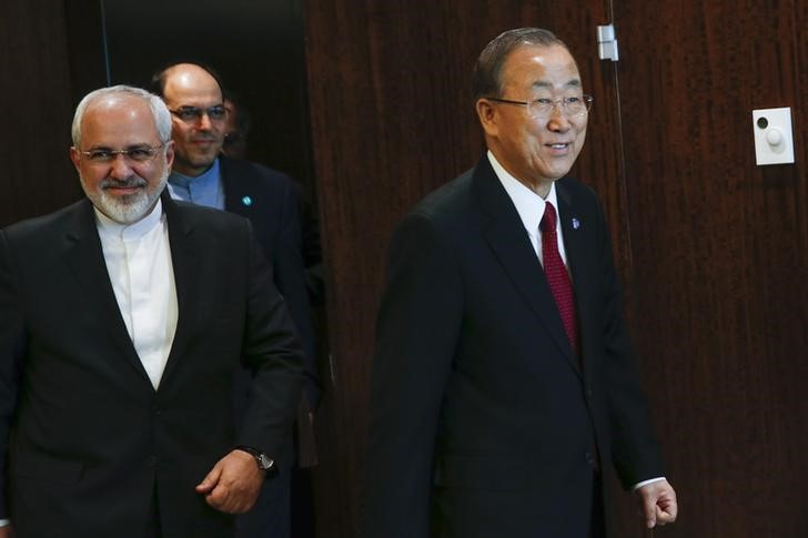 United Nations Secretary General Ban arrives to a meeting with Iranian Foreign Minister Mohammad Zarif at U.N. headquarters in New York