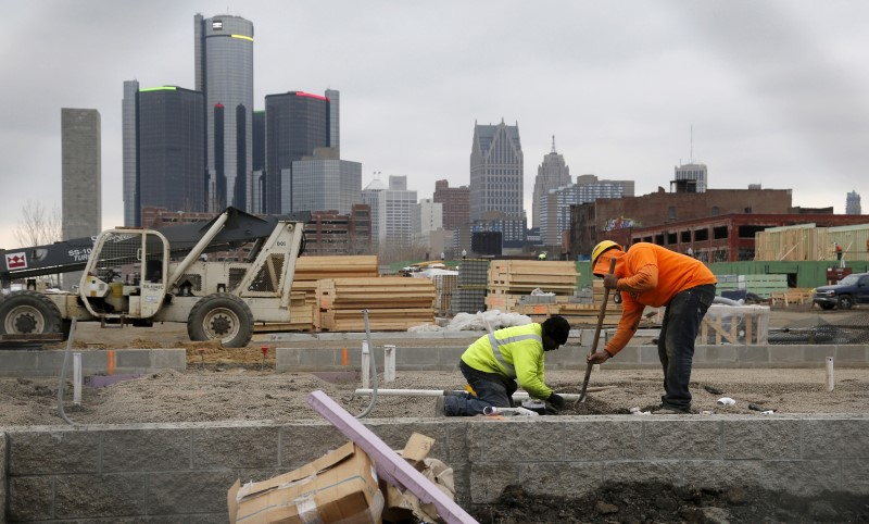 Construction is seen on a new housing development along the riverfront in Detroi