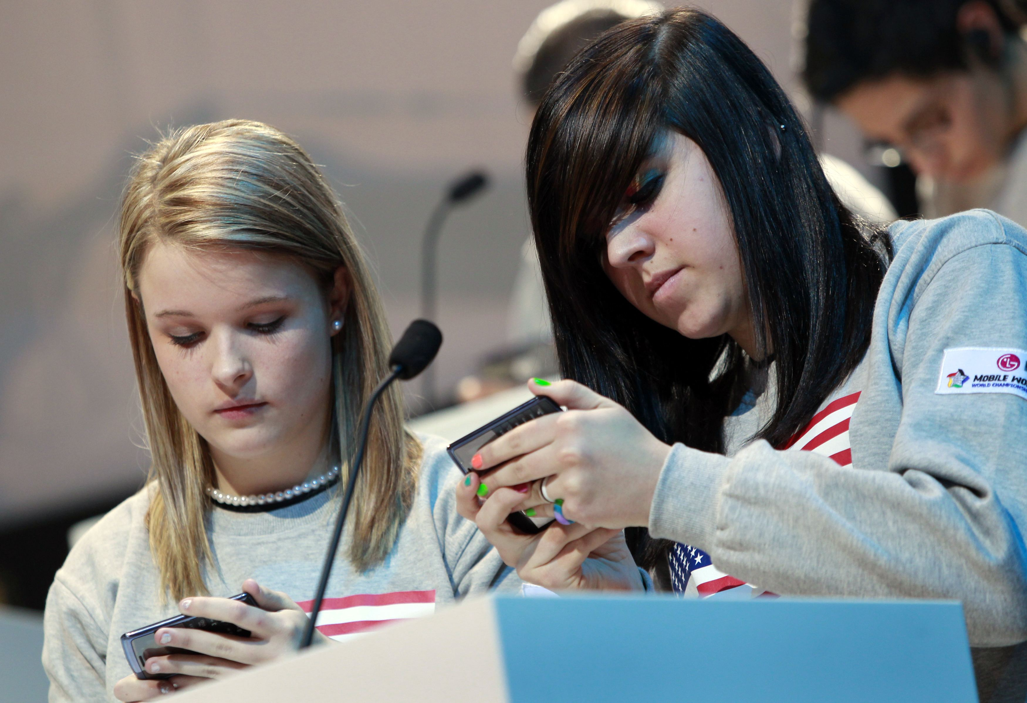 File photo of contestants competing in the the LG Mobile Worldcup Texting Championship in New York
