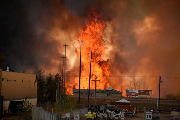 Flames rise in Industrial area south Fort McMurray Alberta Canada