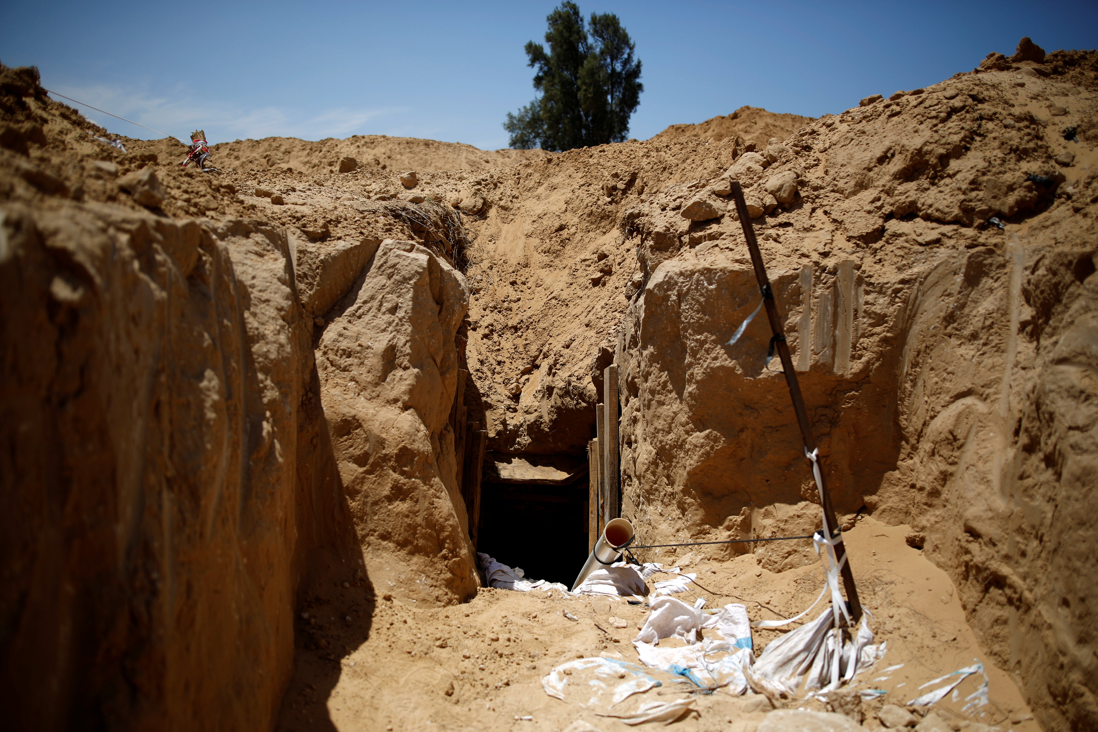 An entrance to a tunnel which Israel's military said it had discovered is seen just outside the southern Gaza Strip