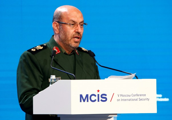 Iranian Defence Minister Dehghan delivers a speech as he attends 5th Moscow Conference on International Security in Moscow