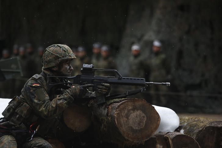 German Bundeswehr army demonstrate their skills at Kaserne Hochstaufen in Bad Reichenhall
