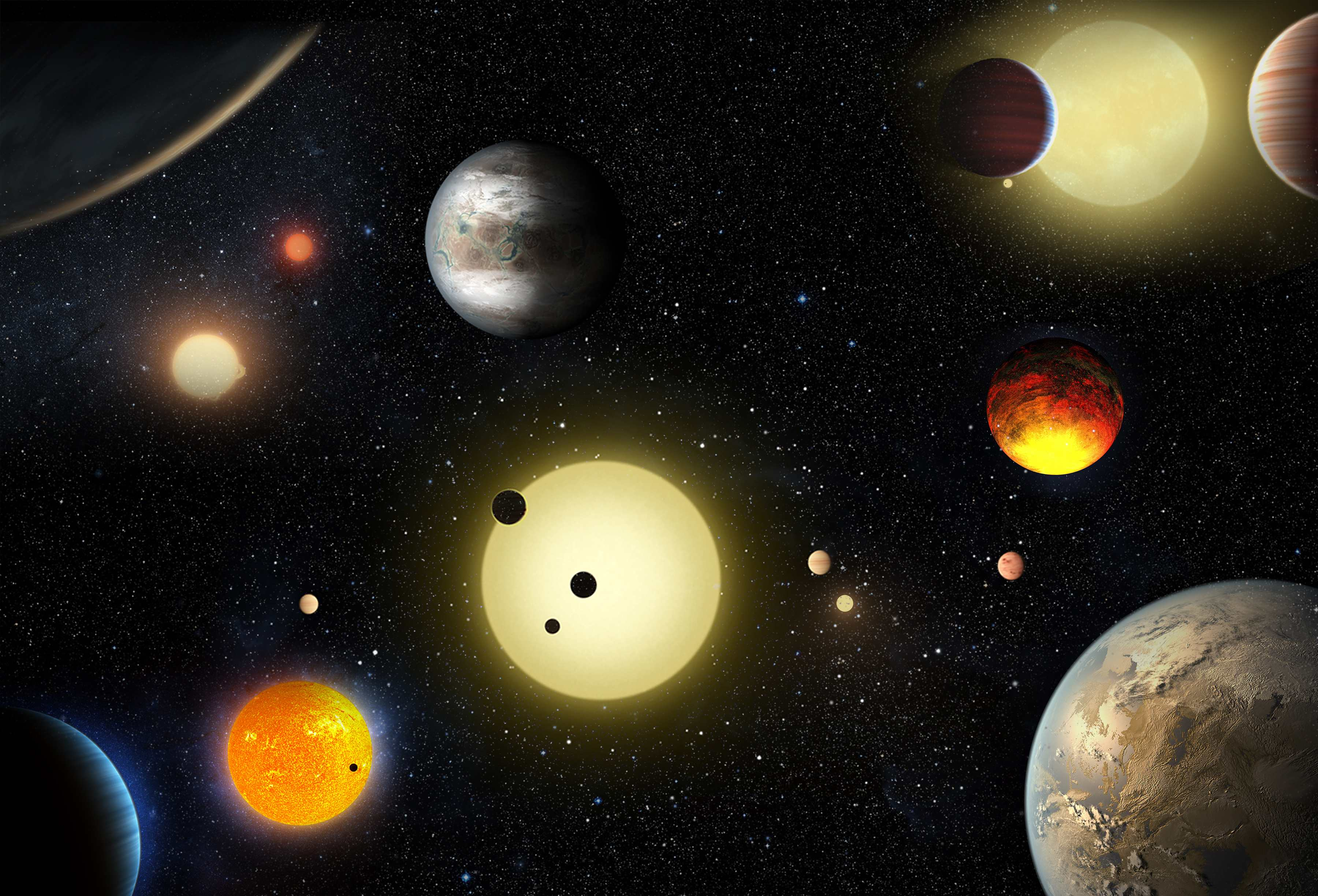 An artist's concept depicts select planetary discoveries made to date by NASA's Kepler space telescope