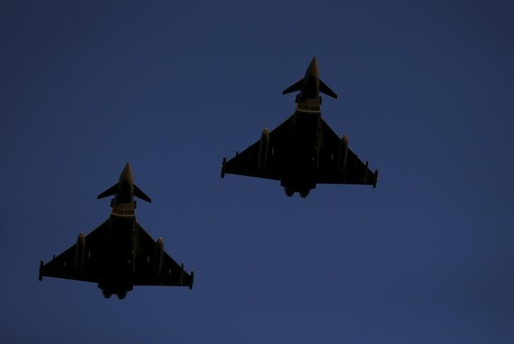RAF Typhoons fly above RAF Lossiemouth in Scotland,