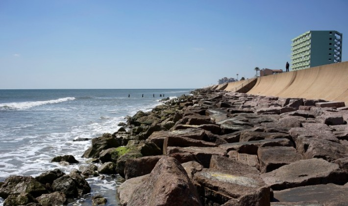 The large seawall that protects Galveston from major storms and the rising waters of the Gulf of Mexico is seen on Galveston Island