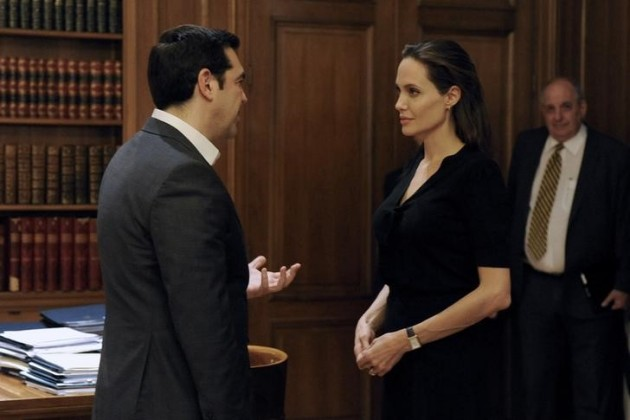 Greek Prime Minister Alexis Tsipras meets United Nations High Commissioner for Refugees (UNHCR) Special Envoy Angelina Jolie at the Maximos Mansion in Athens, Greece, March 16, 2016.