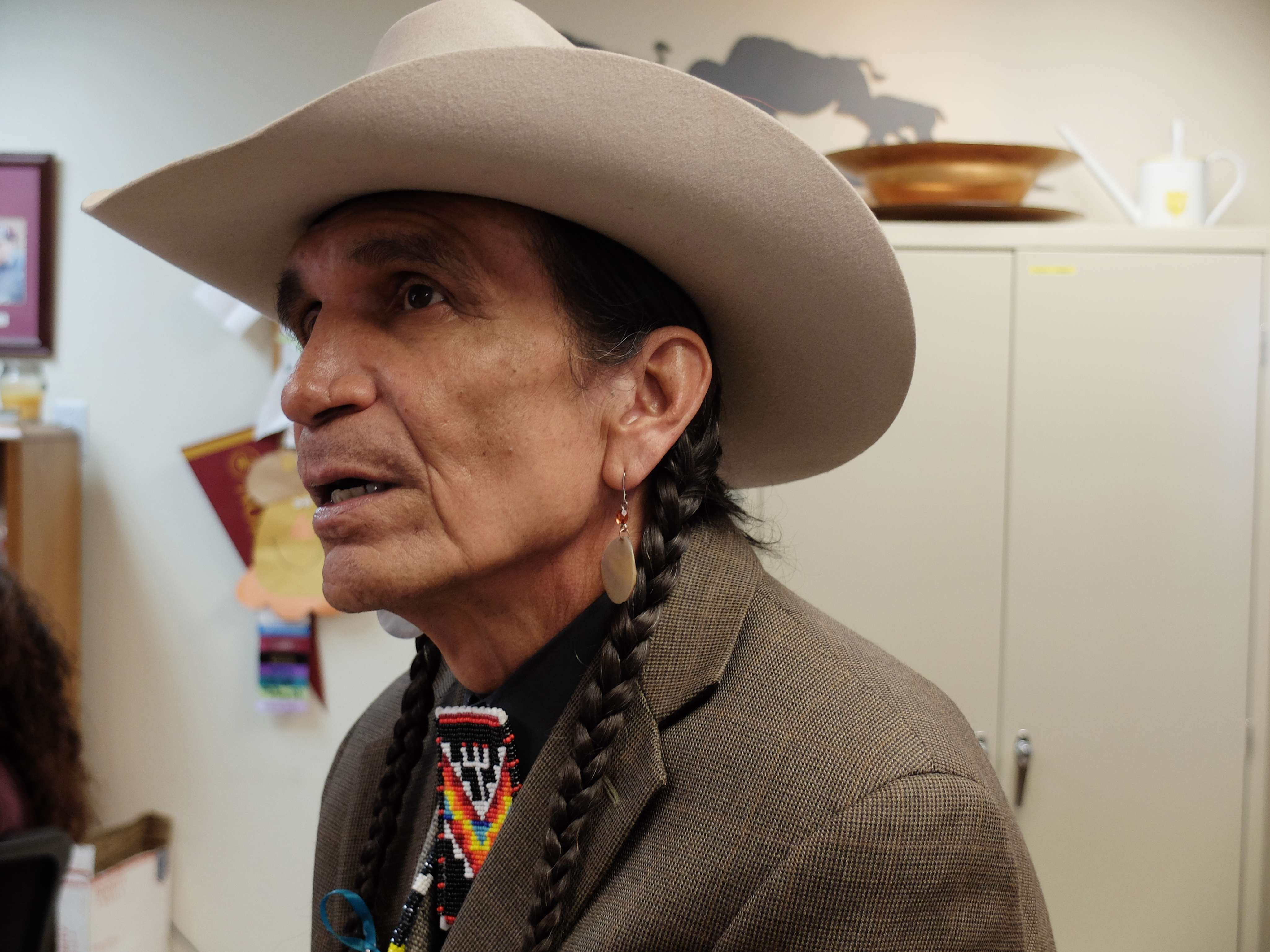 Tribal elder Tommy Christian, who lives on Montana's Fort Peck Indian Reservation, speaks at an anti-trafficking conference at the Fort Peck Community College in Montana, April 28, 2016.