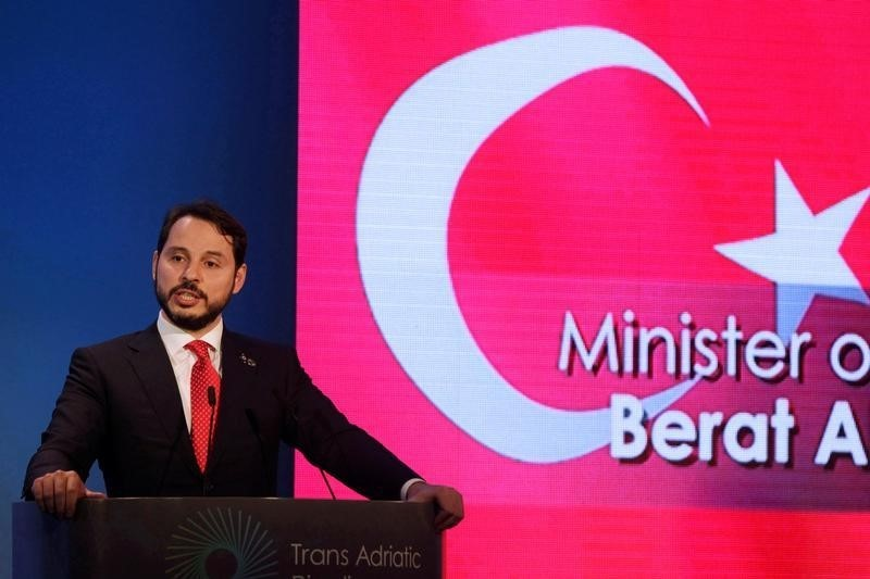 Turkey's Minister of Energy Berat Albayrak delivers a speech during the inauguration ceremony of the Trans-Adriatic Pipeline in Thessaloniki