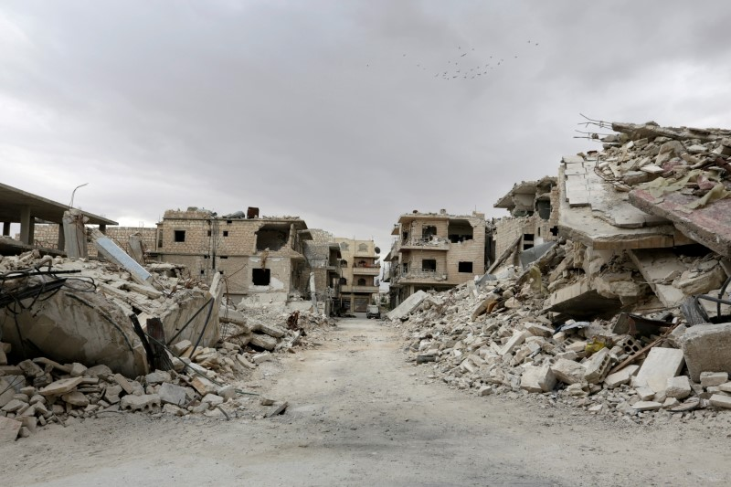 Birds fly over a damaged neighbourhood, in the rebel-controlled area of Maaret al-Numan town in Idlib province, Syria