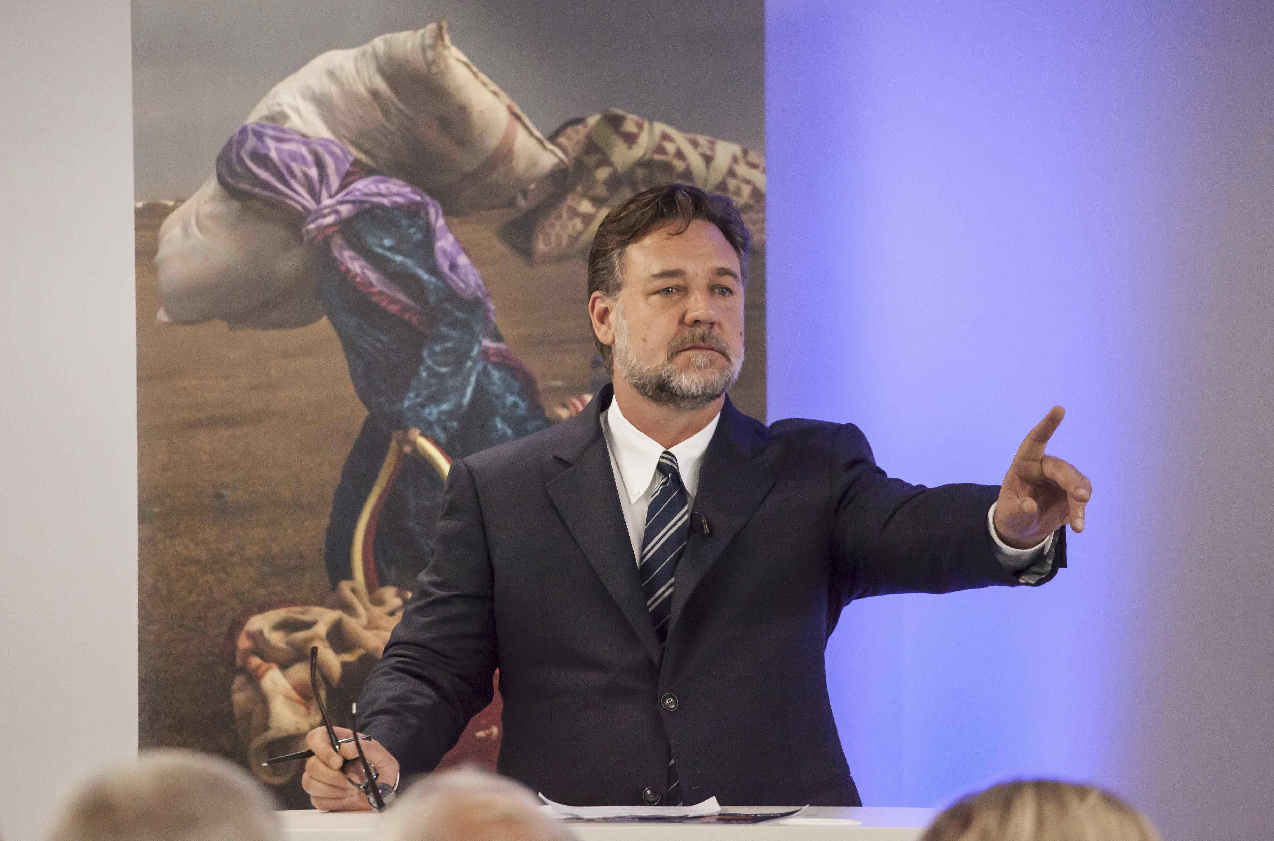 Actor Russell Crowe launches the 2016 Global Slavery Index at the London office of Gallup