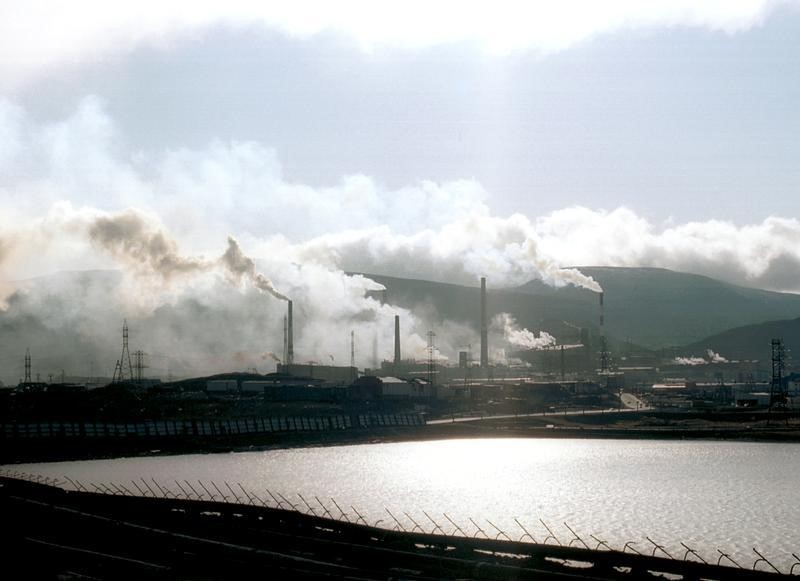 Grey plumes of toxic dust from giant nickel smelters in the Siberian city of Norilsk are carried by arctic winds