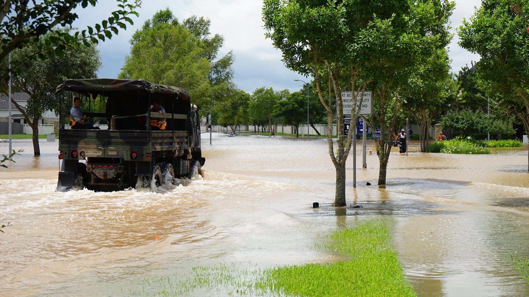 Emergency crews patrol Fort Bend County after heavy rainfall caused the Brazos River to surge to its highest level causing flooding outside Housto