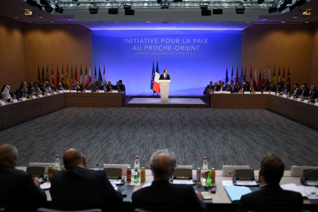 French President Francois Hollande delivers a speech during an international and interministerial conference in a bid to revive the Israeli-Palestinian peace process, in Paris