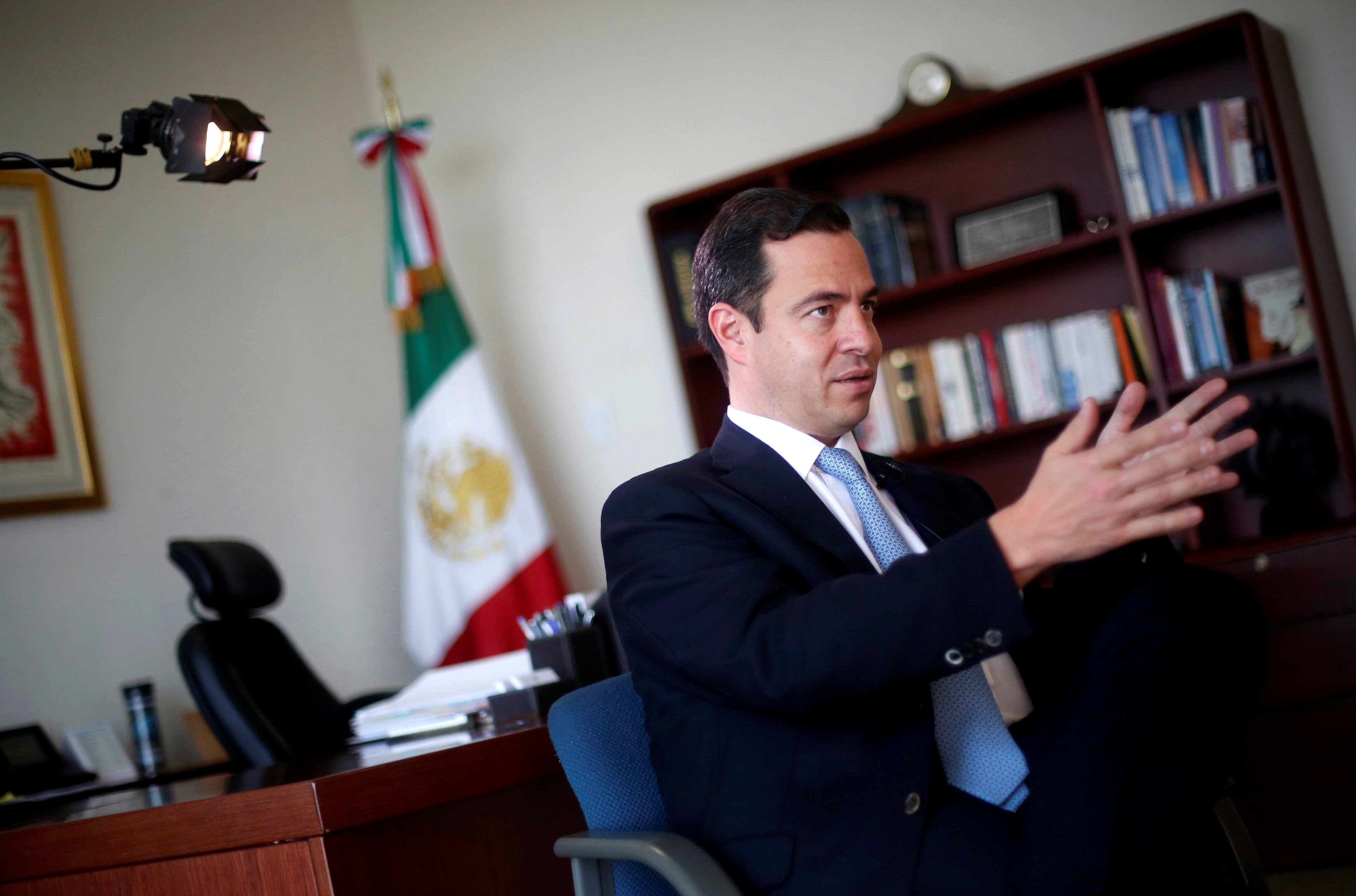 Paulo Carreno, Mexican deputy foreign minister in charge of North America, speaks during an interview in Mexico City