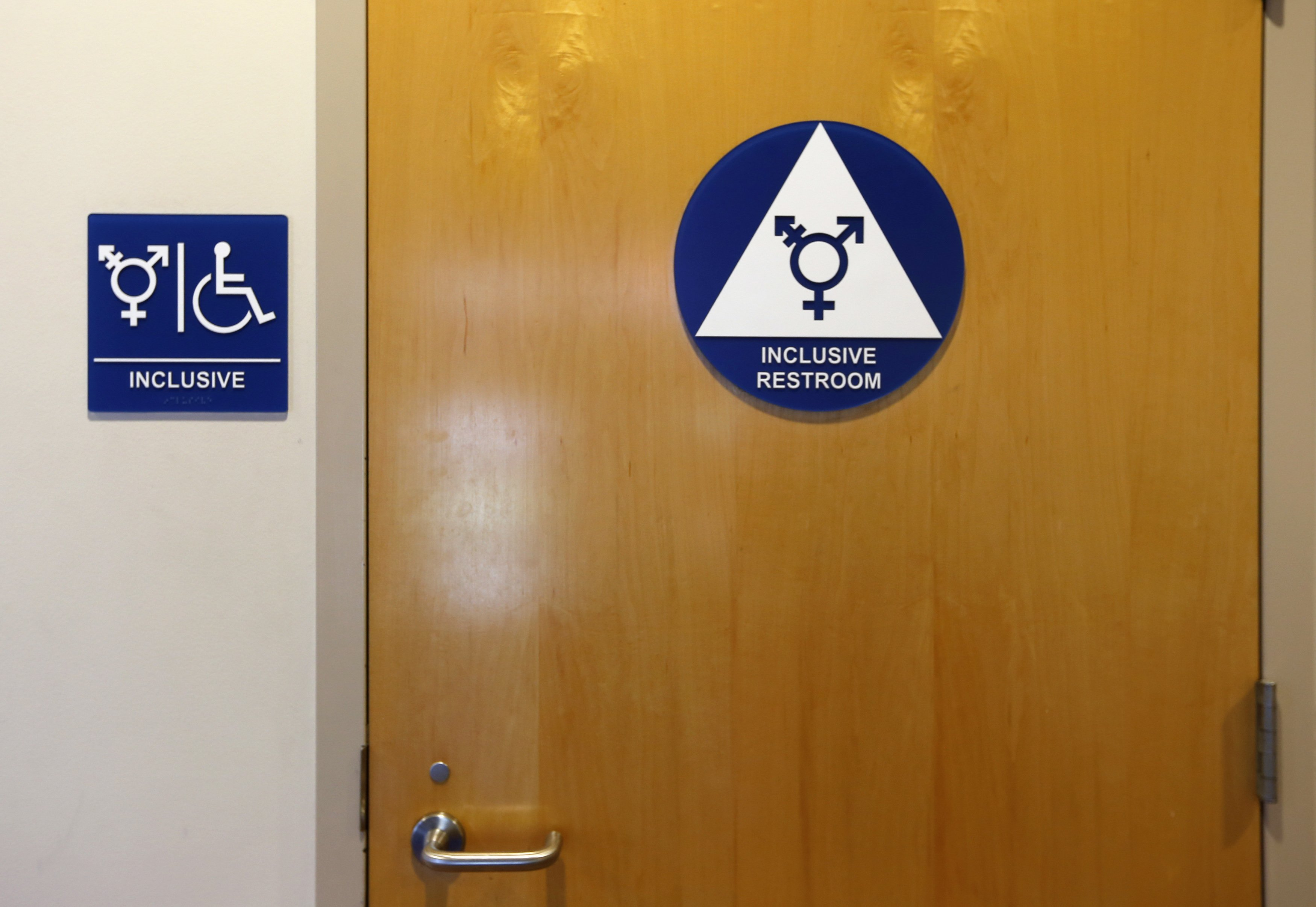 A gender neutral bathroom is seen at the University of California Irvine