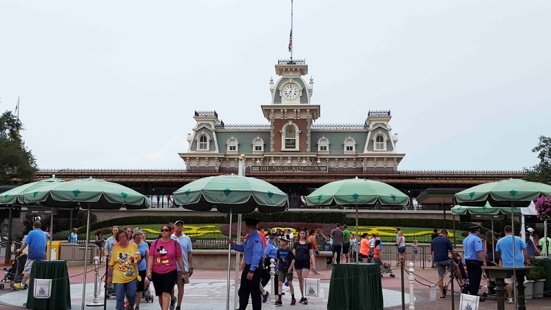 Security officers staff the entrance at the Walt Disney World's Magic Kingdom in Orlando, Florida, U.S. June 13, 2016.