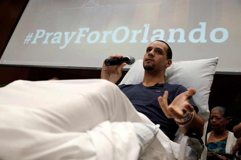 Gunshot survivor Angel Santiago recounts his story at a news conference at Florida Hospital Orlando on the shooting at the Pulse nightclub in Orlando