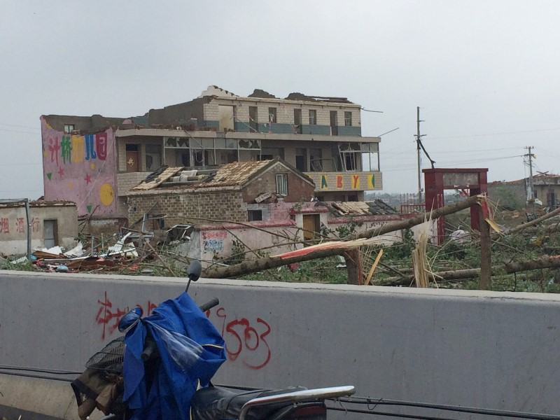 Collapsed kindergarten school after tornado
