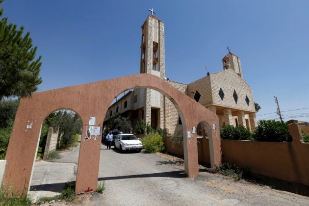 A general view of the Saint Elias church taken in the afternoon, before four suicide bombers blew themselves up outside the church after a series of suicide attacks in the village earlier in the day, in the Christian village of Qaa, Lebanon