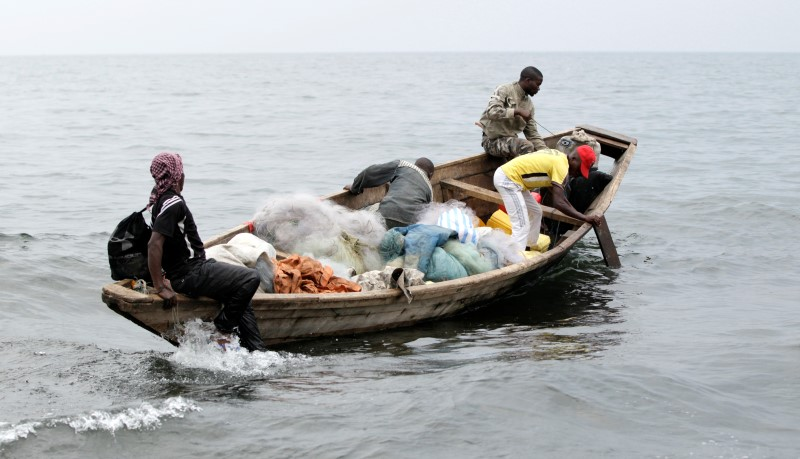 Fishermen set out for their expedition from the shores of Lake Kivu in Goma.