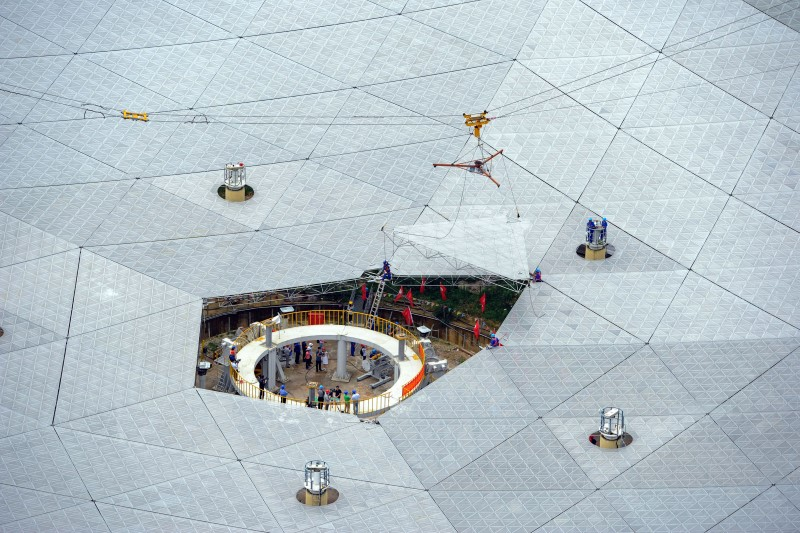 """The last panel of China's world largest radio telescope named """"FAST"""", is installed in Pingtang county"""