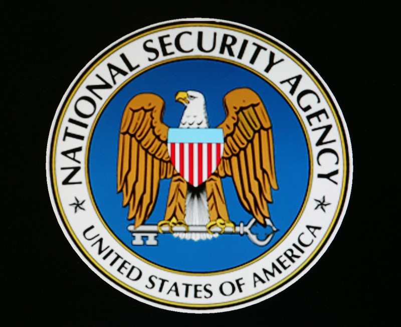 The logo of the U.S. National Security Agency is seen in Fort Meade, Maryland,