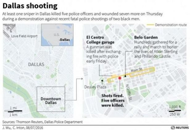 Map of attack and demonstration in Dallas