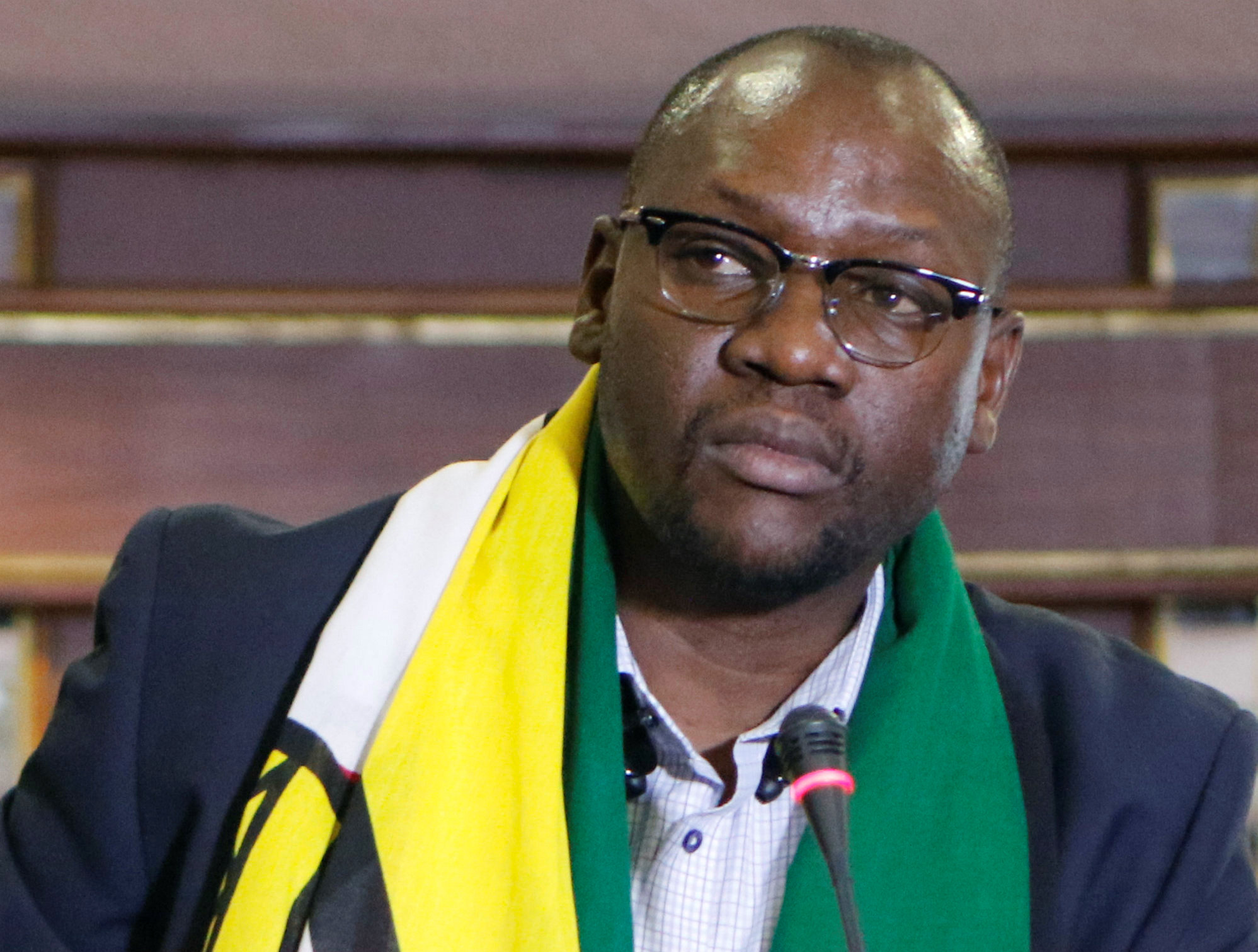 Pastor Evan Mawarire, who launched the movement #ThisFlag, is seen at a press conference in Harare