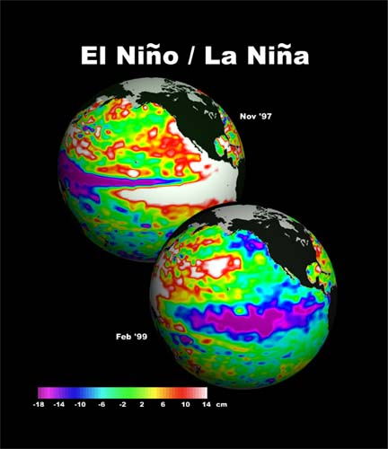 graphics showing the differences in temperature of an El Nino and El Nina