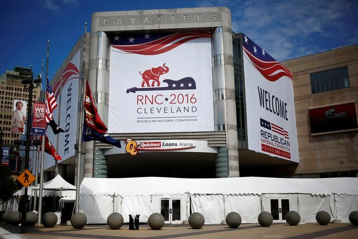 The Quicken Loans Arena is seen as setup continues in advance of the Republican National Convention in Cleveland