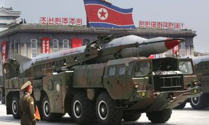 A missile carried by a military vehicle in North Korea