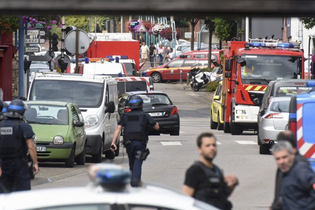 Police outside of French Catholic Church where hostages have been taken