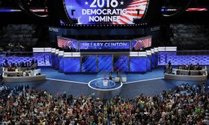 Delegates cheer at the annoucement that Hillary Clinton is named the Democratic Party nominee for president at the Democratic National Convention in Philadelphia