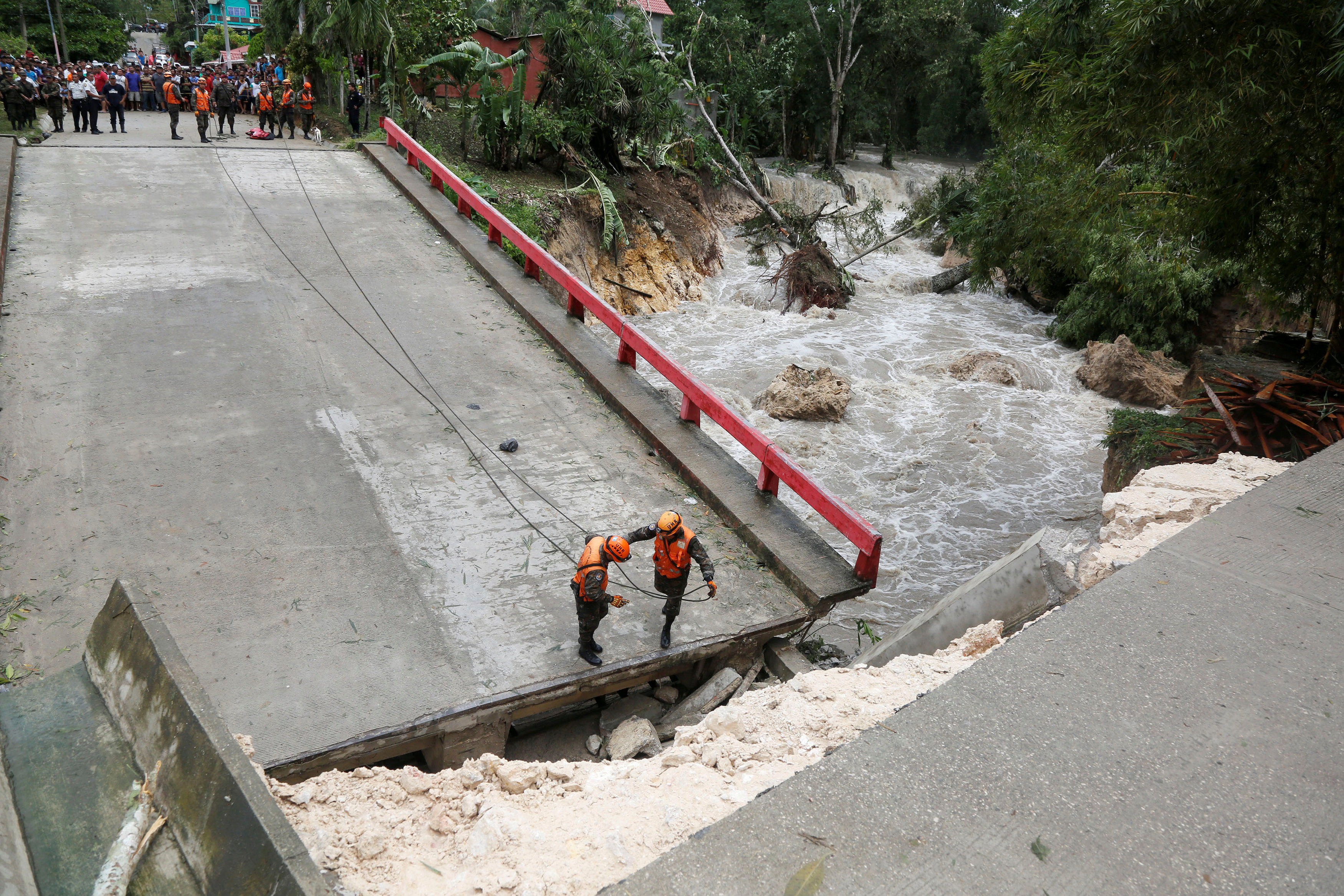 Bridge collapse because of Hurricane Earl