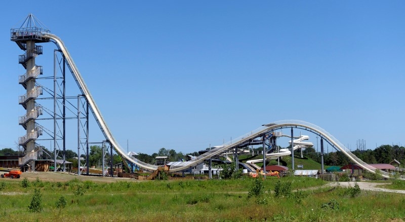 A general view of the Verruckt waterslide at the Schlitterbahn Waterpark in Kansas City, Kansas