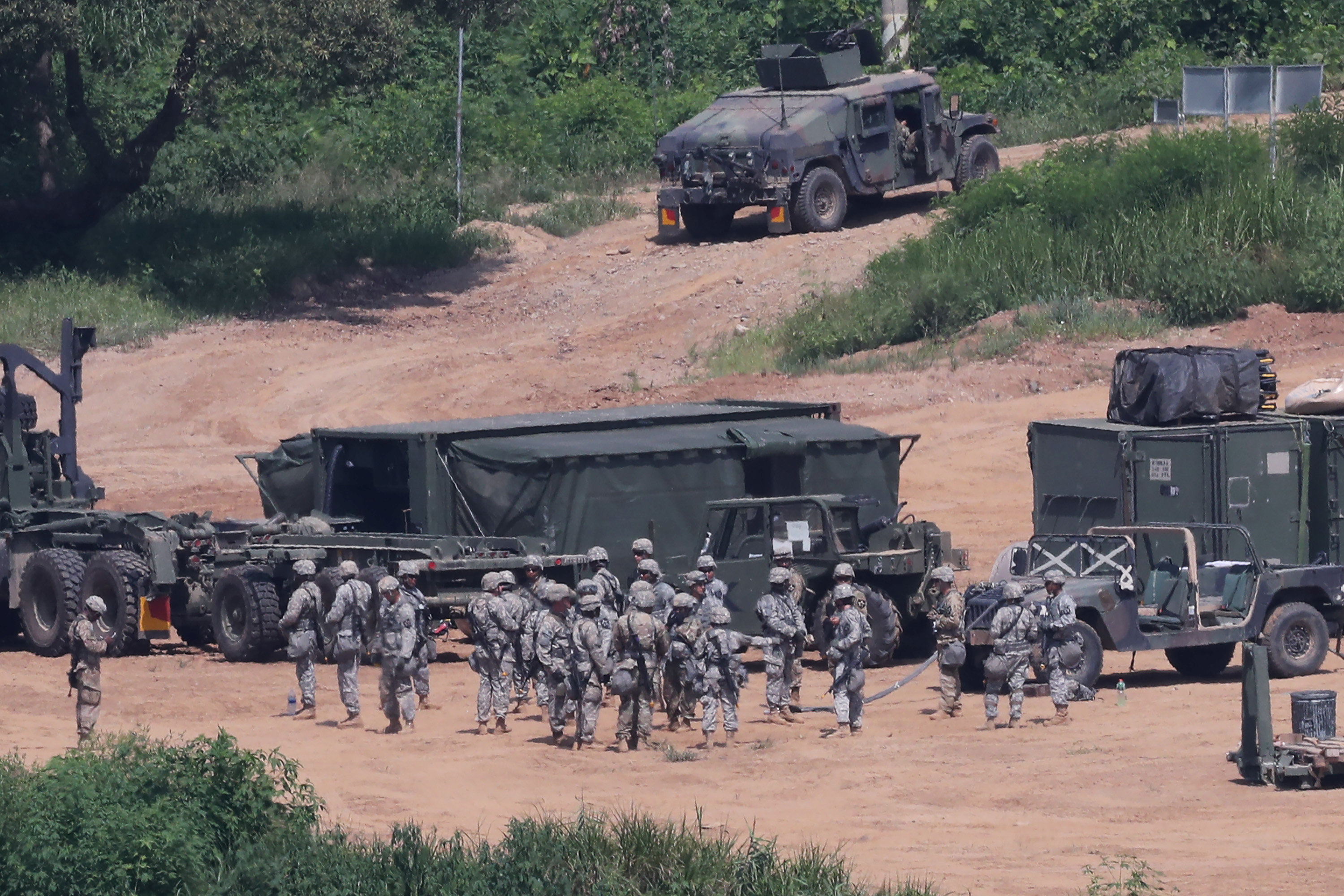 U.S. army soldiers take part in a military exercise near the demilitarized zone separating the two Koreas in Paju, South Korea