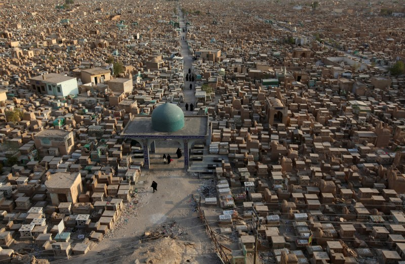 "he Wadi al-Salam cemetery, Arabic for ""Peace Valley"", is seen in Najaf, south of Baghdad, Iraq"