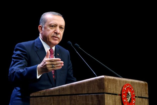Turkish President Tayyip Erdogan makes a speech during a meeting at the Presidential Palace in Ankara, Turkey, August 24, 2016.