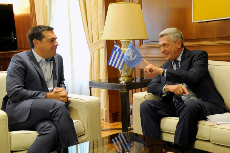 United Nations High Commissioner for Refugees Filippo Grandi meets with Greek Prime Minister Alexis Tsipras at the Maximos Mansion in Athens