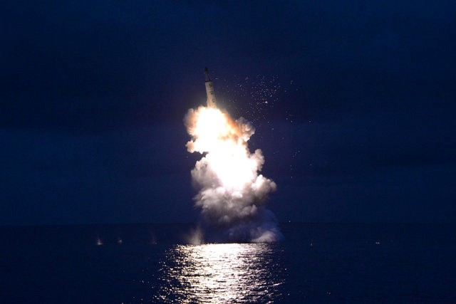 A test-fire of strategic submarine-launched ballistic missile is seen in this undated photo