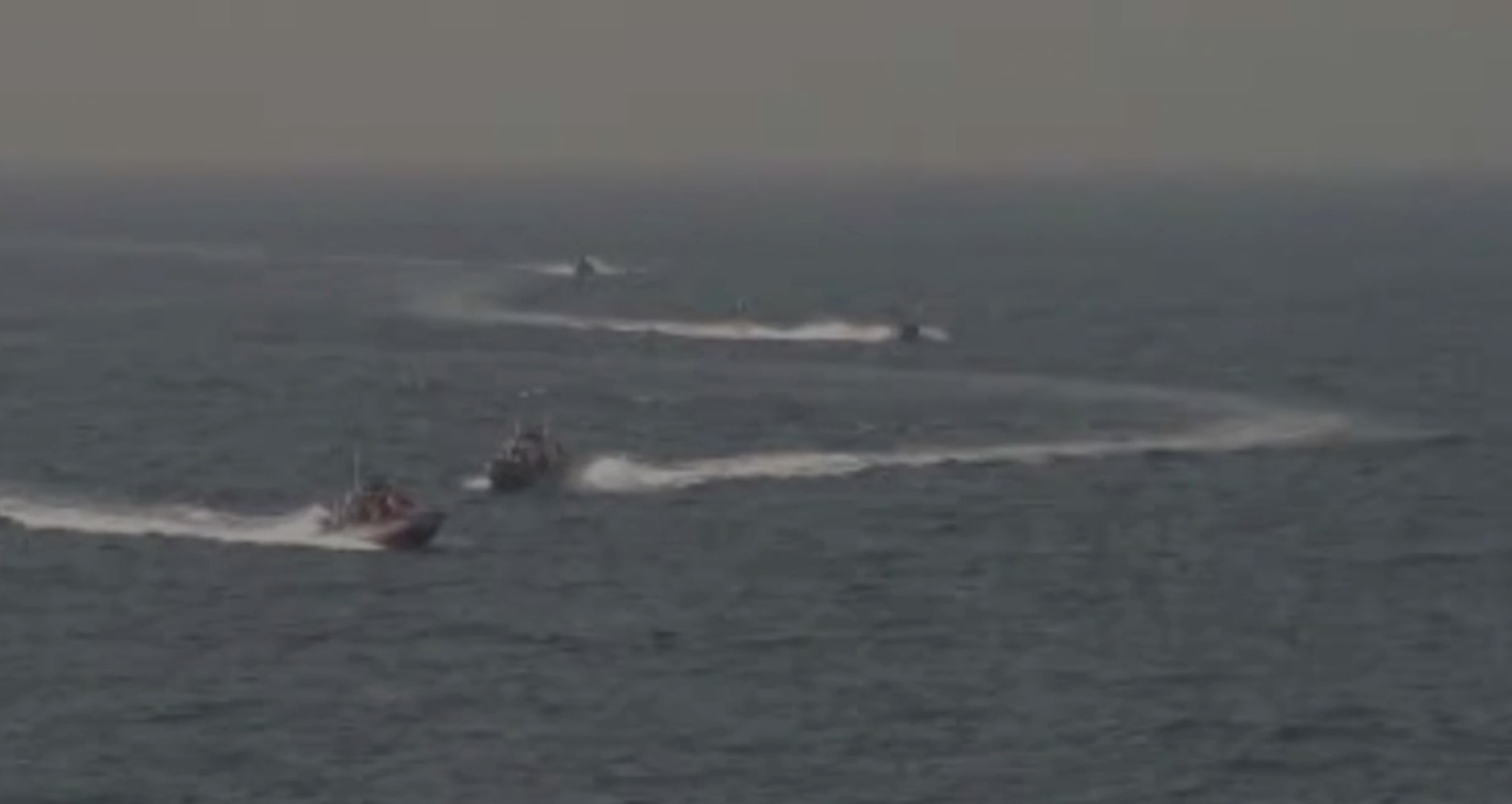 Footage taken aboard the USS Nitze of Islamic Revolutionary Guard vessels