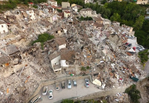 A drone photo shows the damages following an earthquake in Pescara del Tronto, central Italy, August 25